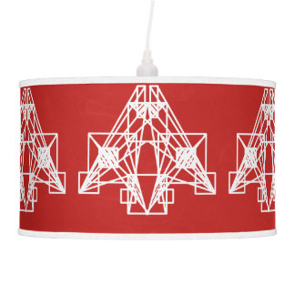 UrbnCape Geometric White on Red lamp shade