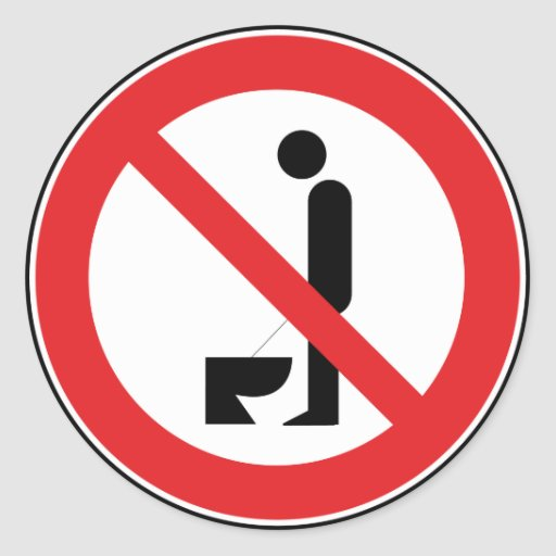 Urinating while standing is forbidden Sticker