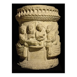 Urn depicting a family meal, from Aquileia Postcard