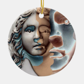 Urn Face Blue Copper Ceramic Ornament