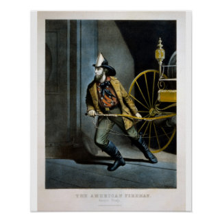 urrier & Ives Lithograph - American Fireman Always Poster