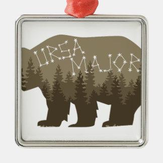 Ursa Major Silver-Colored Square Ornament