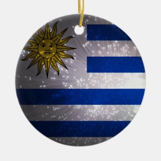 Uruguay Flag Firework Ceramic Ornament