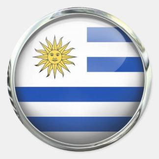 Uruguay Flag Glass Ball Round Sticker