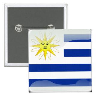 Uruguay glossy flag 2 inch square button