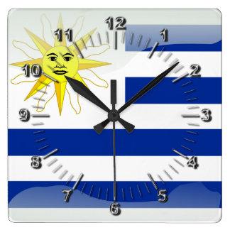 Uruguay glossy flag clocks