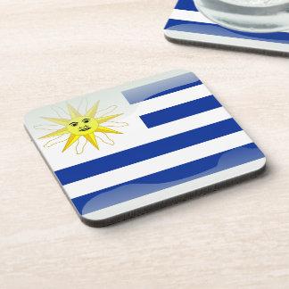 Uruguay glossy flag coaster