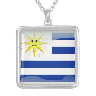 Uruguay glossy flag silver plated necklace