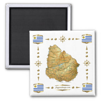 Uruguay Map + Flags Magnet