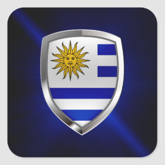 Uruguay Metallic Emblem Square Sticker