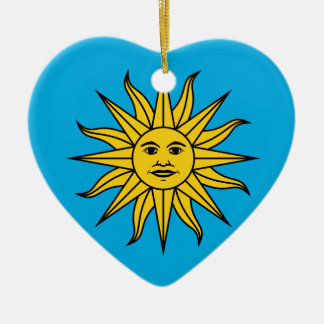Uruguay Sol de Mayo Ceramic Heart Ornament