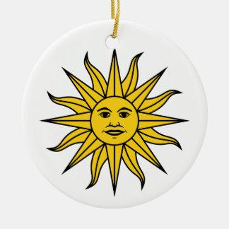 Uruguay Sol de Mayo Round Ceramic Ornament