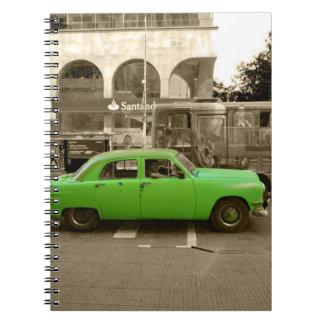 Uruguayan old green car notebook