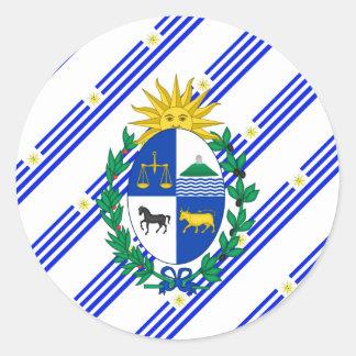 Uruguayan stripes flag classic round sticker