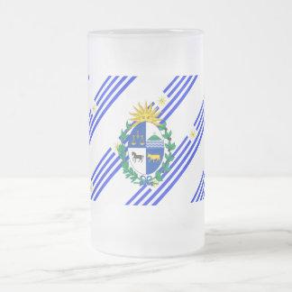 Uruguayan stripes flag frosted glass beer mug