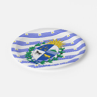 Uruguayan stripes flag paper plate
