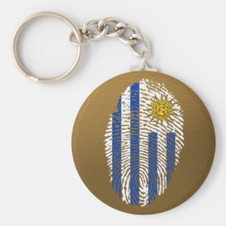 Uruguayan touch fingerprint flag basic round button keychain