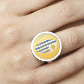 Uruguayan touch fingerprint flag photo ring