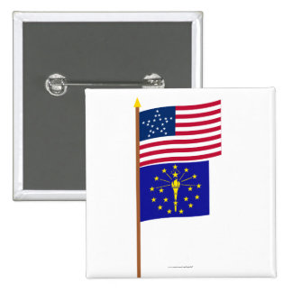US 20-star Great Star flag on pole with Indiana Pinback Buttons