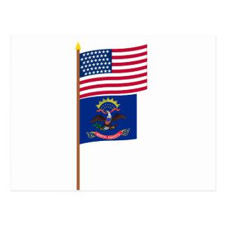 US 43-star flag on pole with North Dakota Postcard