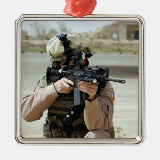 US Air Force Airman conducts security Metal Ornament