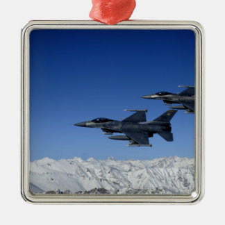 US Air Force F-16 Fighting Falcons Silver-Colored Square Ornament
