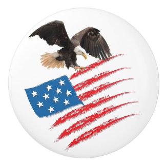 US America Flag Ceramic Knob