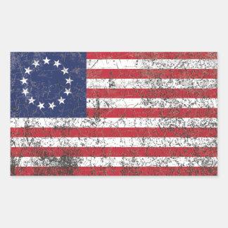 US American Colonial Flag Thirteen Stars RUSTIC Sticker