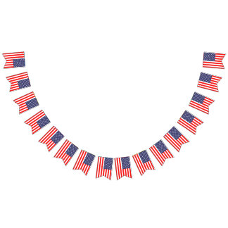 US American flag 4th of July Party Bunting Banner