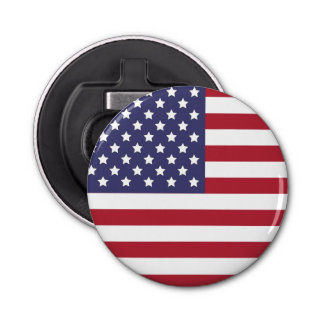 US American Flag no text Button Bottle Opener
