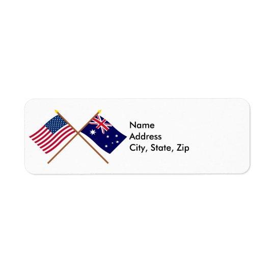 US and Australia Crossed Flags Return Address Label