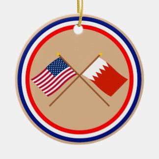 US and Bahrain Crossed Flags Round Ceramic Ornament