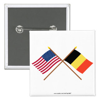 US and Belgium Crossed Flags Pins