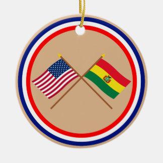 US and Bolivia Crossed Flags Round Ceramic Ornament