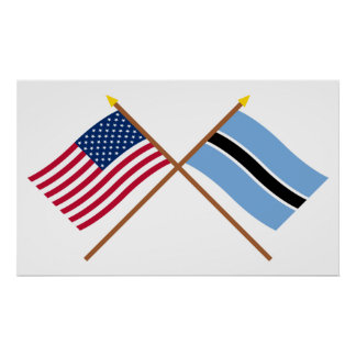 US and Botswana Crossed Flags Poster