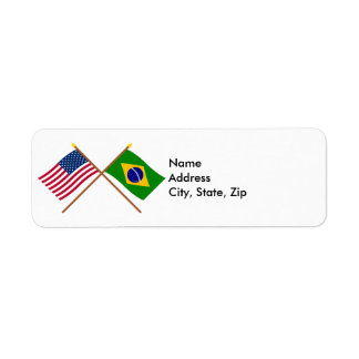 US and Brazil Crossed Flags Return Address Label