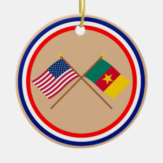 US and Cameroon Crossed Flags Round Ceramic Ornament