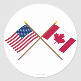 US and Canada Crossed Flags Classic Round Sticker