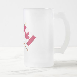US and Canada Crossed Flags Frosted Glass Mug