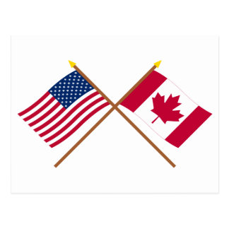 US and Canada Crossed Flags Postcard