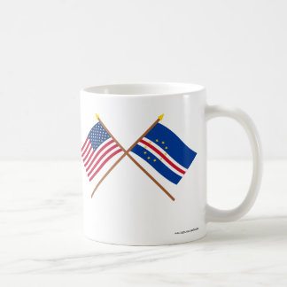 US and Cape Verde Crossed Flags Basic White Mug