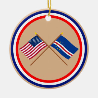 US and Cape Verde Crossed Flags Round Ceramic Ornament