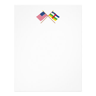 US and Central African Republic Crossed Flags Letterhead Design
