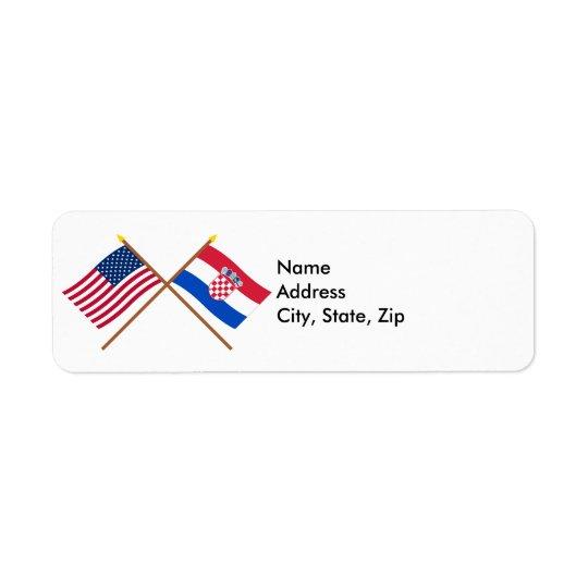 US and Croatia Crossed Flags Return Address Label