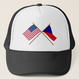 US and Czech Republic Crossed Flags Trucker Hat