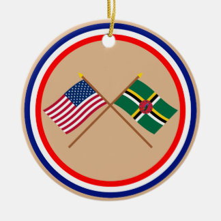 US and Dominica Crossed Flags Round Ceramic Ornament