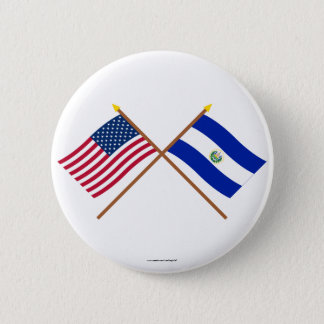 US and El Salvador Crossed Flags 2 Inch Round Button