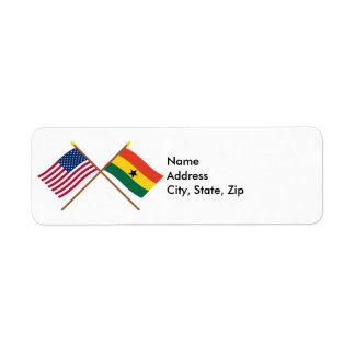 US and Ghana Crossed Flags Return Address Label
