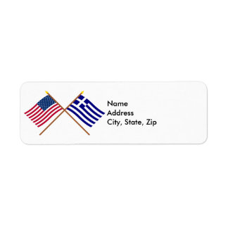 US and Greece Crossed Flags Return Address Label