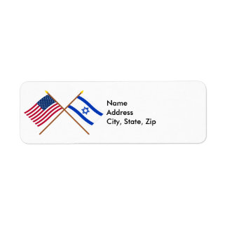US and Israel Crossed Flags Return Address Label